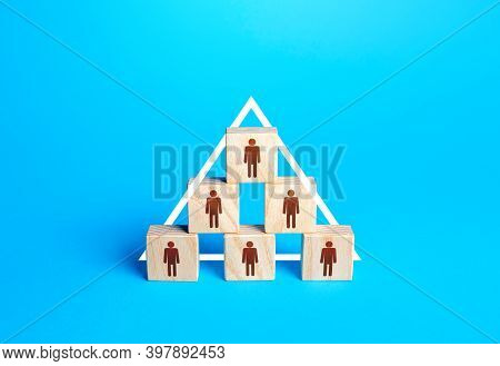 Blocks With People Are Built In A Triangle. Conformism System Leader - Subordinate. Society Model, C