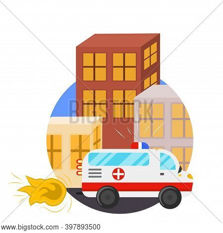 Concept Ambulance Is In A Hurry And Flying Around The City. From The Exhaust Pipe Fire And The Sound