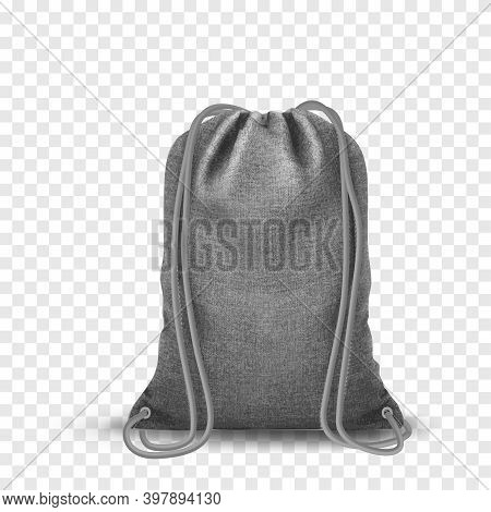 Drawstring Bag, Sport Bags Mockup. Set Of Blank Drawstring Bags For Cloth Or Shoes. Pouch Or Textile