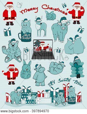 Christmas Set Of Hand Drawn Santa Claus, Bear, Hippo, Cow, Kitten, Deer, New Year Gifts, Laptop, Vid