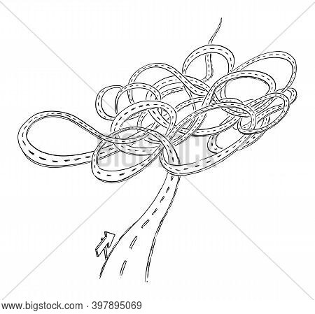 Complicated Long Path. Chaotic Or Messy Road To Future, Career Or Success. Vector Cartoon Illustrati