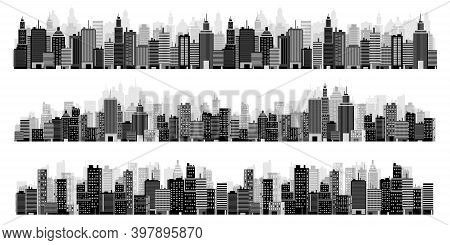 Set Of City Silhouettes. Cityscape. Town Skyline. Panorama. Midtown Houses Skyscrapers. Vector Illus