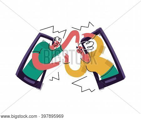 Vector Flat Illustration With Concept Of Bullying, Aggression, Swearing, Dislike Online. Man And Wom