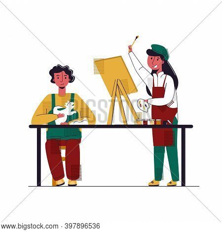 Vector Flat Illustration With Concept Of Children S Amateur Activities. It Shows Girl Drawing Pictur