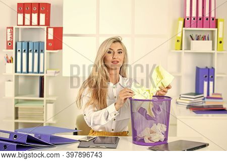 I Will Find It. Woman In Office Looking For Lost Note In Paper Bin. Crumpled Paper In Wastepaper Bas