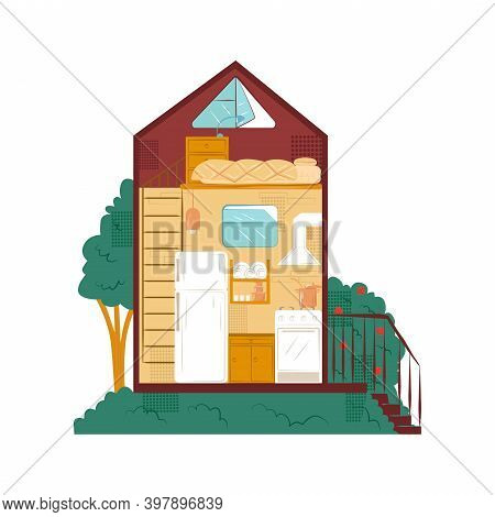 Vector Flat Illustration Structure Of Small, Tiny House In Section. Picture Shows Kitchen And Bedroo