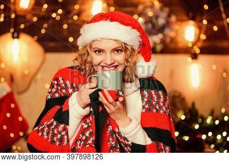 Tea Shop Concept. Warm And Cozy. Cozy Home. Enjoy Cozy Atmosphere Of Winter Holidays. Woman Drink Te