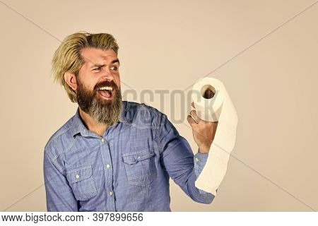Thats How We Roll. Diarrhea. Man Holding Toilet Paper Roll In Supermarket. Roll Of Toilet Paper. Pan