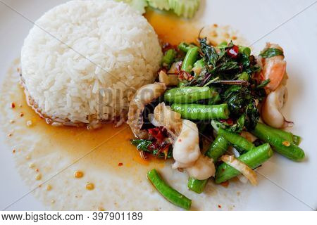 Yard Long Bean Stir Fried Seafood Squid Shrimp Prawn With Holy Basil And Rice, Thai Food Spicy Fried
