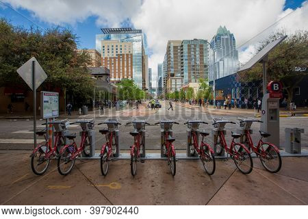 Spring, 2016 - Austin, Texas, Usa - Central Streets Of Texas. Bicycle Rental Station In Texas. Bicyc