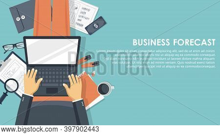 Business Forecast Banner. Analysis And Analytics. Flat Vector Illustration