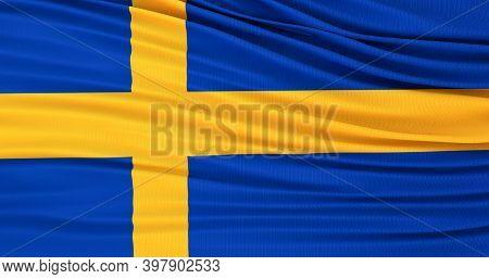 Flag Of Sweden, Sweden Waving Flag. Swedish Background