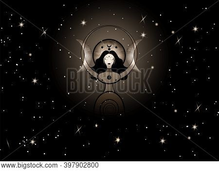 Woman Wicca Mother Earth Symbol Of Sexual Procreation. Spiral Goddess Of Fertility And Triple Moon W