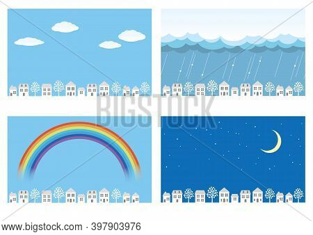 Vector Townscape Illustration Set Isolated On A White Background.