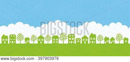 Vector Seamless Townscape With Green Field, White Clouds, Blue Sky, And Text Space. Horizontally Rep