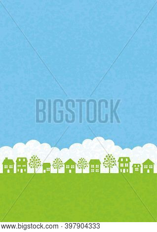 Vector Seamless Townscape With Green Field, White Clouds, And Blue Sky. Horizontally Repeatable.