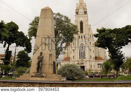 Jau / Sao Paulo / Brazil - 02 21 2020: Commander Joao Ribeiro De Barros Monument, Historical Persona