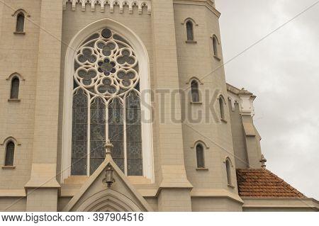 Jau / Sao Paulo / Brazil - 02 21 2020: Mother Church Of Our Lady Of Patronage Detail (nossa Senhora