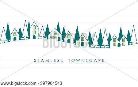 Seamless Townscape With Text Space Isolated On A White Background. Vector Illustration. Horizontally