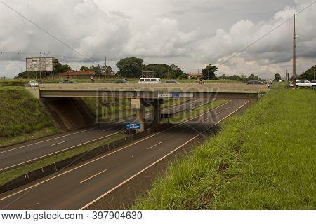Jau / Sao Paulo / Brazil - 02 21 2020: Dorlan Antonio Sancinetti Viaduct Above Commander João Ribeir