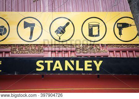 Subotica, Serbia - November 19, 2020: Stanley Logo On Their Local Retailer. Part Of Stanley Black &