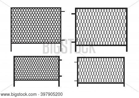 3d Mesh Fence For Banner Design. Black Mesh Fence On White Background. Isolated Vector. Stock Image.