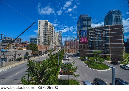 August 4th, 2020, Chicago, Il, Aerial Elevated View Looking East Down Division Street With Atrium Vi