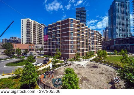 August 4th, 2020, Chicago, Il, Aerial Elevated View Of Atrium Village Under A Blue Sky
