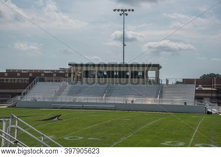 Leipsic, Oh, September 8th, 2020, Leipsic High School John Edwards Football Field Bleachers And Pres