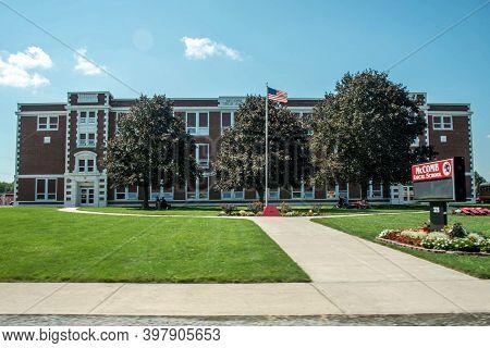 Mccomb, Ohio, September 8th, 2020. Mccomb High School, Public School Building Front Entrance Exterio