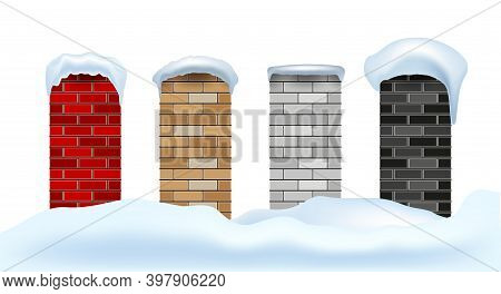 Stove Or Fireplace Chimneys In Snowdrifts Under Snow Caps. Merry Christmas And Happy New Year Relate
