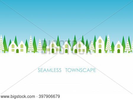 Seamless Townscape With Text Space, Vector Illustration. Horizontally Repeatable.