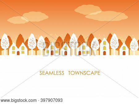 Seamless Townscape At Sunset With Text Space, Vector Illustration. Horizontally Repeatable.