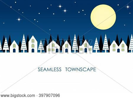Seamless Townscape At Night Withstars, The Moon, And Text Space. Vector Illustration. Horizontally R