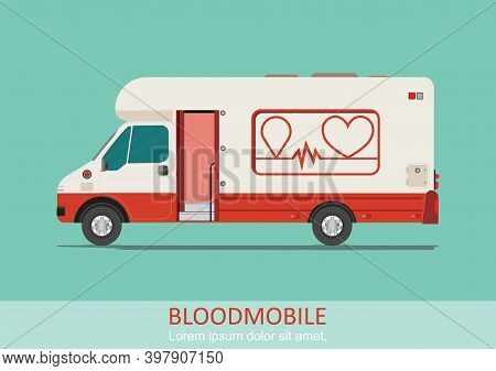 Healthcare Transport Illustration Blood Mobile Van. Medical Special Truck Vehicle For Blood Donation