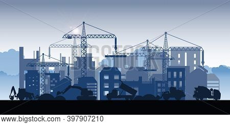 Silhouette Of Buildings Under Construction. Process Of Construction Of Big Building Dormitory Area.u