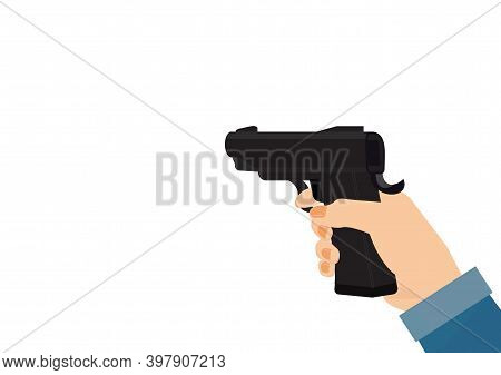 Woman Hand Holding Gun Isolated On White Background.