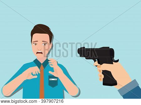 Woman Hand Holding Gun And Young Man Looking Shocked Scared, Negative Emotion Facial Expression Feel