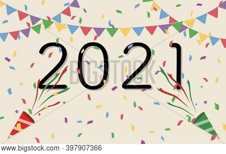 Happy New Year 2021 With Celebration For Happy New Year Background. Party Festive Vector Illustratio
