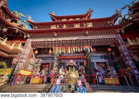Puli Township, Nantou County, Taiwan - Dec. 02, 2020: Chinese Altar, Taoist Special Dedication Sacri