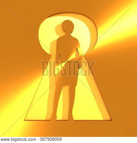 Posing Woman Silhouette With Casting Shadow. Keyhole Concept Which Has A Bright Light. Light Poured