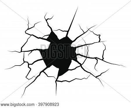 Cracks In Wall On White Background. Breaking Surface From Strong Impact. Fault Line. Vector