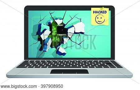 Silver Broken Laptop Hacked By Hacker With Screen Flying Into Fragments. Computer Security, Reliabil