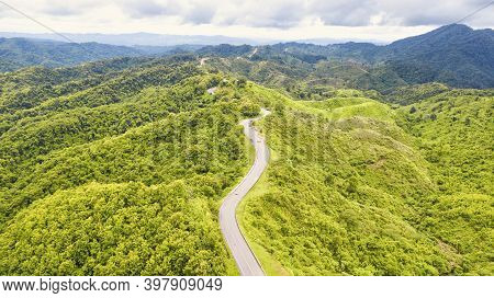 Aerial View Of Road In Beautiful  Forest At Sunset In Autumn.  Colorful Landscape With Roadway, Tree