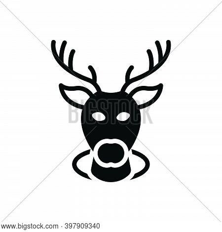 Black Solid Icon For Buck Deer Stag Reindeer Animal Head Decorative Haunting Heraldic Wild Horn