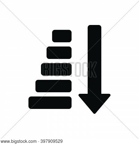 Black Solid Icon For Sort Filter Arrow Descending Down Direction Type Kind Category Classification