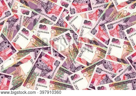 20 Sri Lankan Rupees Bills Lies In Big Pile. Rich Life Conceptual Background