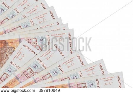 100 Croatian Kuna Bills Lies Isolated On White Background With Copy Space Stacked In Fan Close Up