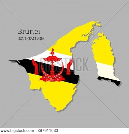 Map Of Brunei With National Flag. Highly Detailed Editable Map Of Brunei, Southeast Asia Country Ter