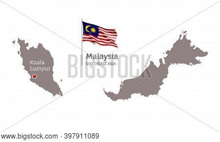 Silhouette Of Malaysia Country Map And National Flag. Highly Detailed Gray Map With Kuala Lumpur Cap